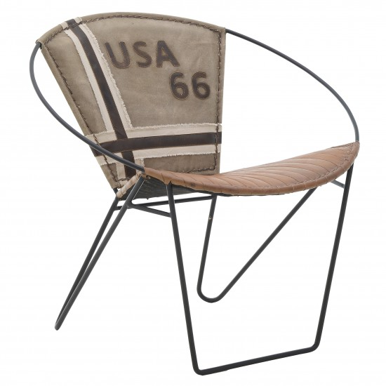 LEATHER/CANVAS ARMCHAIR BROWN/BEIGE 75*65*75/43